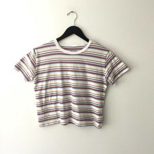 Hollister Striped Tee Shirt Crop Top T Surf Small